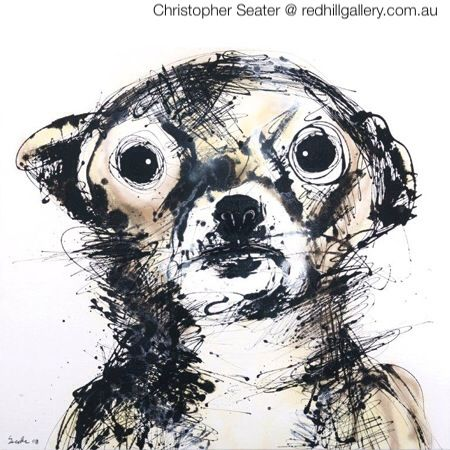 "Christopher Seater, painting of dog ""Tina"". Red Hill Gallery, Brisbane. redhillgallery.com.au"
