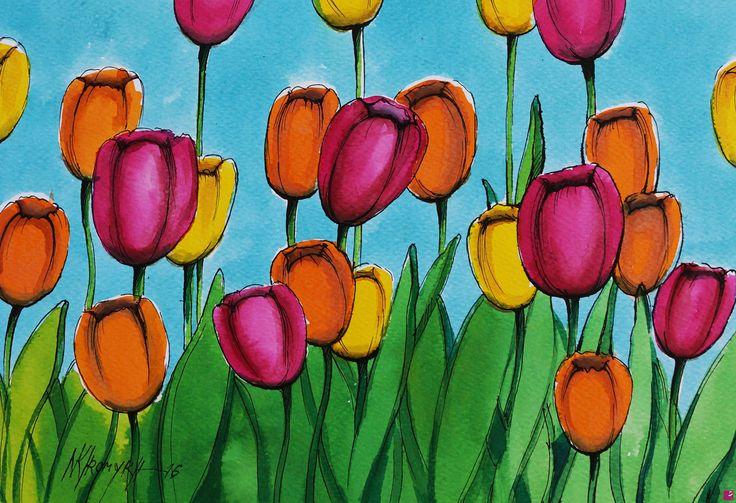 dipingere  tulipani ad acquerello  di Natalia Khromykh