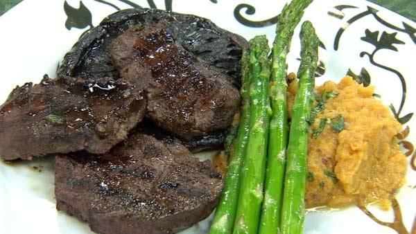 Grilled Venison and Portobello Mushrooms with Pepper Balsamic Glaze