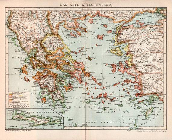 1898 ancient greece map greek islands creta by craftissimo on etsy