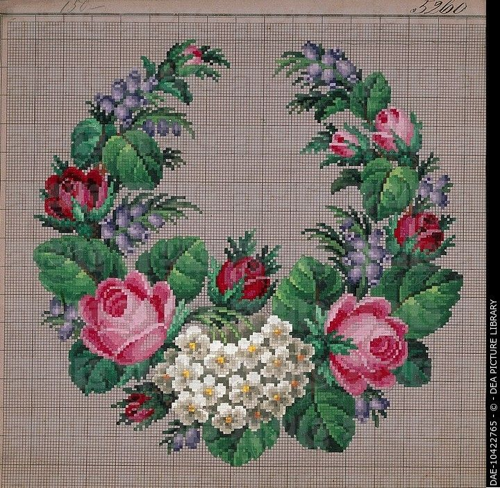 Embroidery, 19th century. Small stitch floral composition. DAE-10422765 © DEA PICTURE LIBRARY