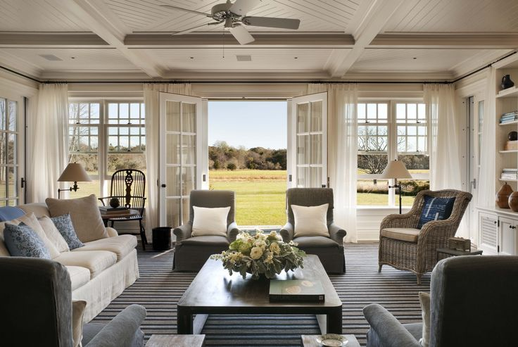 Family Room - A Summer Cottage in the Hamptons - John B. Murray Architect - Interior Design by Victoria Hagan - Photography by Durston Saylor