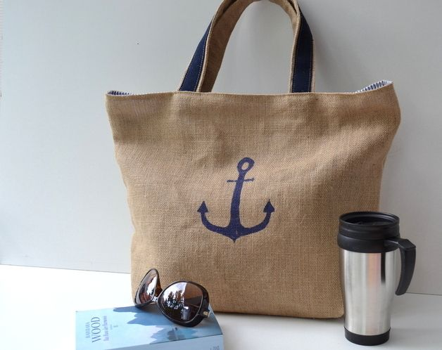 Grab a towel, swimsuit, sunscreen and a good book and enjoy a relaxing day at the pool, lake or ocean. The huge jute beach bag (coffee bean bag) for holiday sunny mood. Nature & Marine beach bag - a unique product via en.dawanda.com