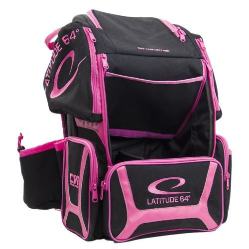 Latitude 64 Luxury E3 Backpack Black/Pink Disc Golf Bag Holds 20+ Discs