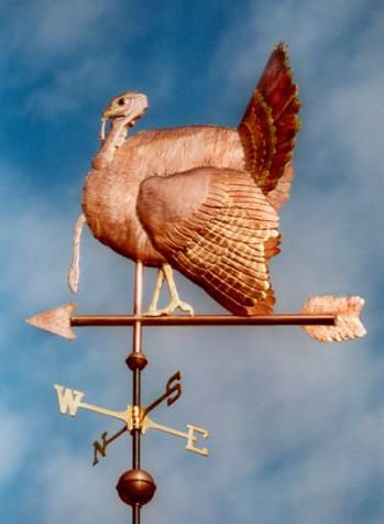 TURKEY WEATHER VANE Turkey Weather Vane, Fan Tailed Turkey by West Coast Weather Vanes. It can be done in all copper or in a combination of copper and brass or copper and gold leaf. This turkey was made in copper with a gold leafed head and legs. This beautiful Turkey weather vane can be a symbol used when celebrating Thanksgiving Day.
