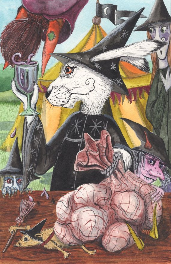 Ursula and the Grimwagel Wine! - A3 Print by Jacqui Lovesey from 'The Puzzle of the Tillian Wand' - witch hare fantasy art.