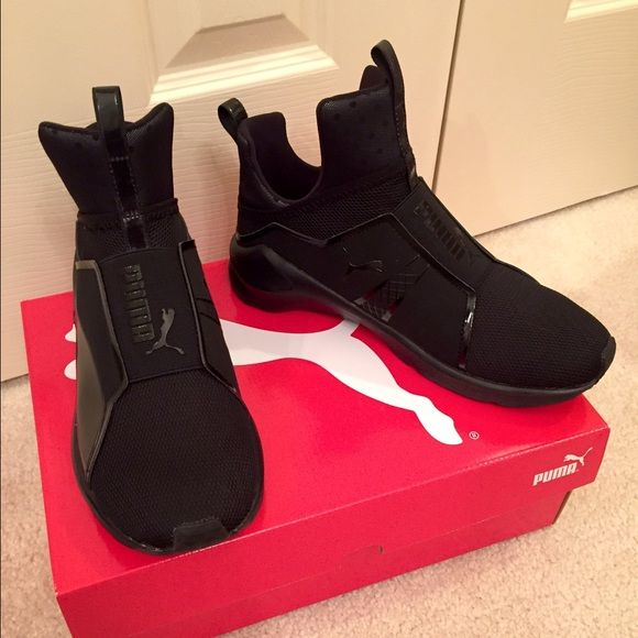 Puma Fierce shoes by Kylie Jenner Brand new, never worn Puma Fierce by Kylie Jenner! Black size 8. There is absolutely nothing wrong with them, I just decided they weren't my style. They are sold out online so get them here! Puma Shoes