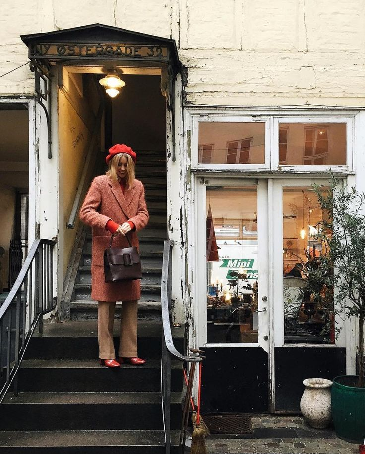 Hanna Stefansson, wearing 'Lauren Mohair Coat' in red rust.