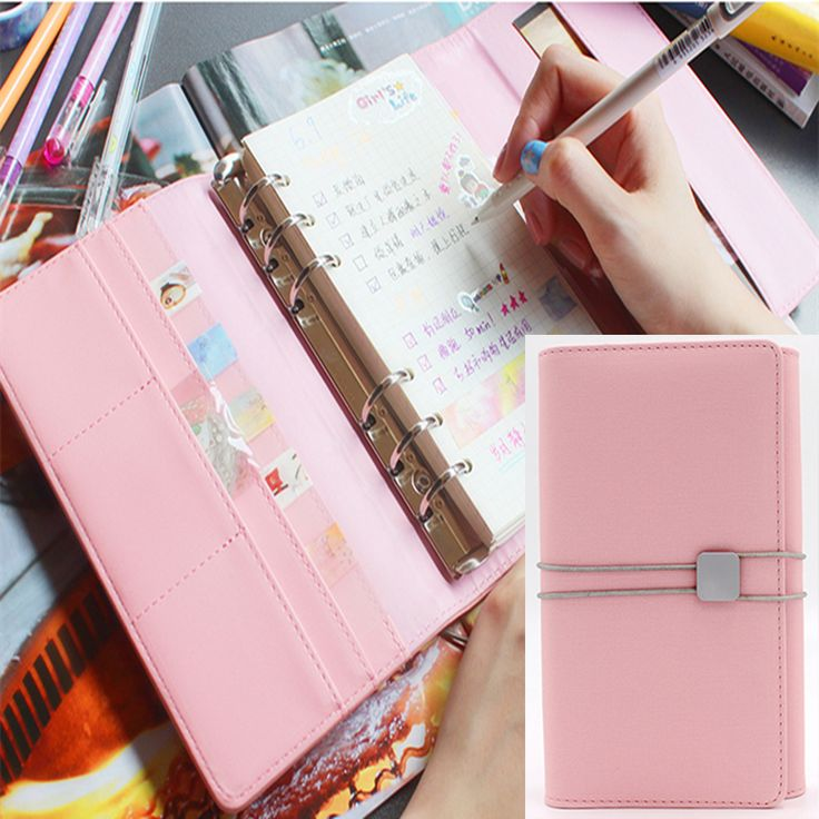==> [Free Shipping] Buy Best Korean Office Personal Organizer Kawaii Notebook Cute Spiral Agenda Planner Notepad Leather Foldable Binder Travel Journal A6 Online with LOWEST Price | 32698222327