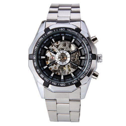 WINNER Cool Steampunk Style Mens Stainless Steel Automatic Mechanical Wrist Skeleton Dial Watch >>> Read more  at the image link. (Note:Amazon affiliate link)