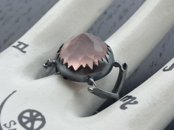 Coven Ring Rose Quartz and Sterling silver by charlotteburkhart