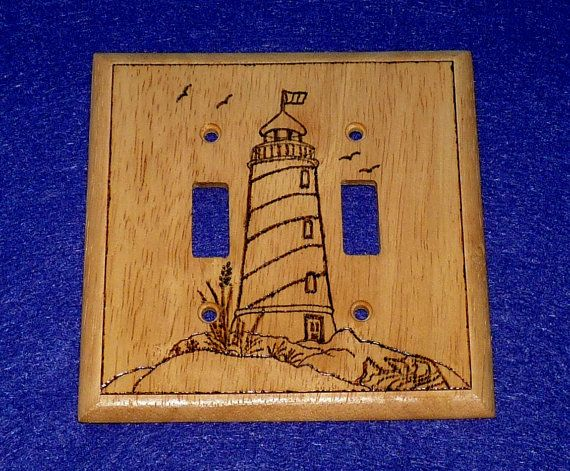 Wood burned lighthouse double decorative wood by for Lighthouse switch plates