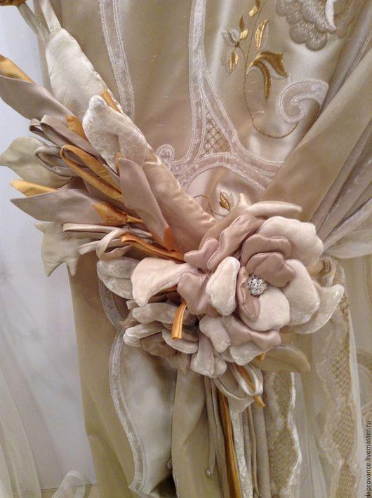 Текстиль, ковры ручной работы. Ярмарка Мастеров - ручная работа. Купить Подхват для штор Розарий. Handmade. Бежевый, шторы на заказ
