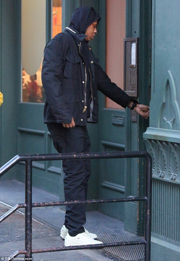 Earlier: Beyonce's husband was seen heading into the building, buzzing his way into the pr...
