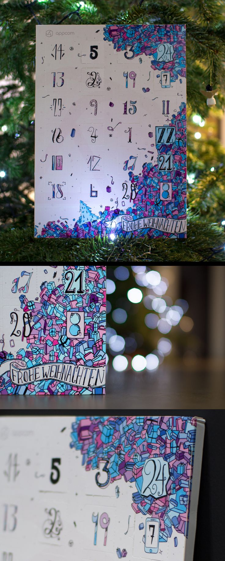 advent calendar | blue magenta | merry christmas - frohe weihnachten | chocolate | for our customers | appcom interactive & marketing