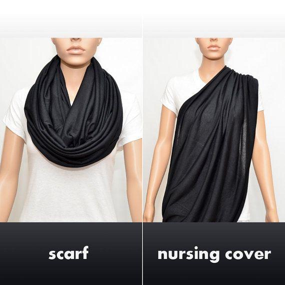 Black Infinity Scarf / Nursing cover scarf by NyUrbanAccessories, $25.00
