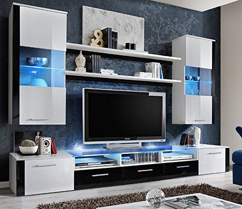FRESH Modern Wall Unit / Entertainment Centre / Spacious and Elegant Furniture / Tv Cabinets / Tv Stand for Modern Living Room / High Capacity Living Room Furniture (White)