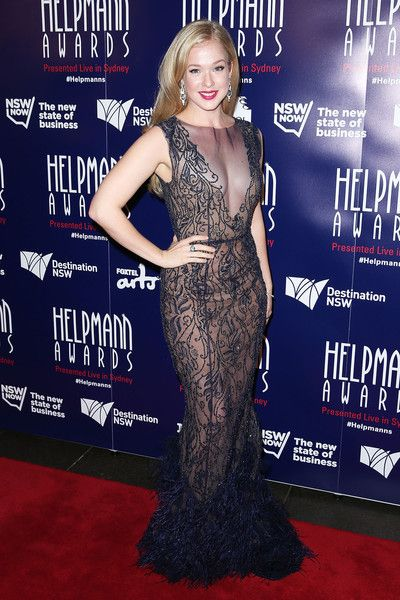 Celebrity Emily Langridge wears Philippa Galasso to the Helpmann Awards Sydney