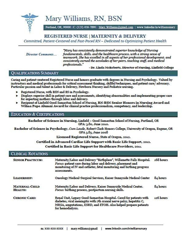 rn new grad nursing resume sample
