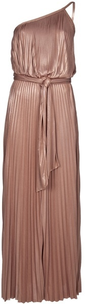 HALSTON HERITAGE Pleated One Shoulder Maxi Dress - Lyst