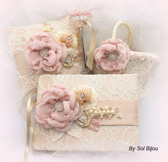 Flower Girl Basket,  Ring Bearer Pillow, Guest book, Ivory, Tan, Beige, Champagne, Blush, Pearls, Lace, Crystals, Vintage, Elegant Wedding