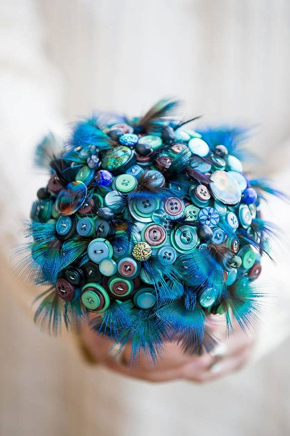 Button bouquet 'Indian blue peacock ' feather and button bouquet