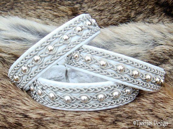 Renne blanc cuir Bracelet Sami YDUN toundra arctique esprit blanc mariage bijoux avec perles en argent Sterling - élégance naturelle à la main