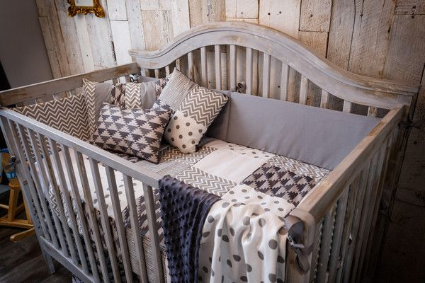 Grey patchwork baby bedding, including 6 pieces. Made in Canada.