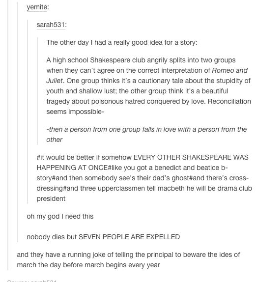 I wish I'd thought of something like this when I took my shakespeare class