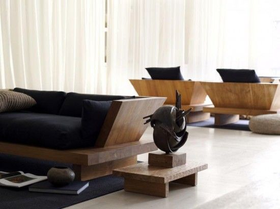 Urban Zen Double Armchair and Low Side Table by Donna Karan-Traditional Balinese furniture Inspired