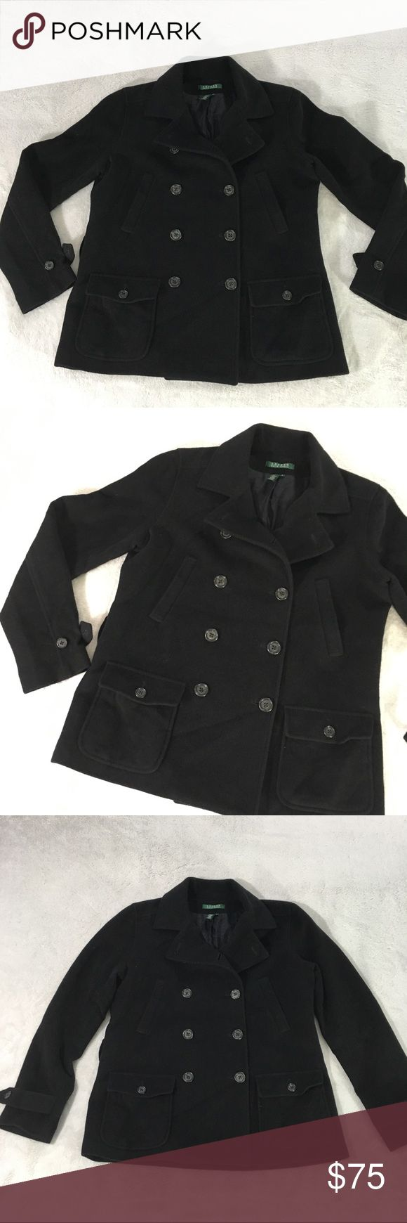 """Ralph Lauren Black Pea Coat Size Medium Ralph Lauren black pea coat. Button close deep  pockets in front. 80% wool 20% angora outside   Top two slide pockets outside both still sewn shut.   Approximate measurements when laying flat are:  20.5"""" across bust front 24.5"""""""" arm sleeve length 26"""" length down the back of peacoat Lauren Ralph Lauren Jackets & Coats Pea Coats"""