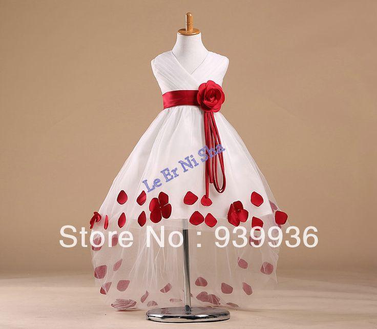 Цветок девочки платья салон платье Белое платье красные лепестки и ленты хвост цветок детская одежда красивая