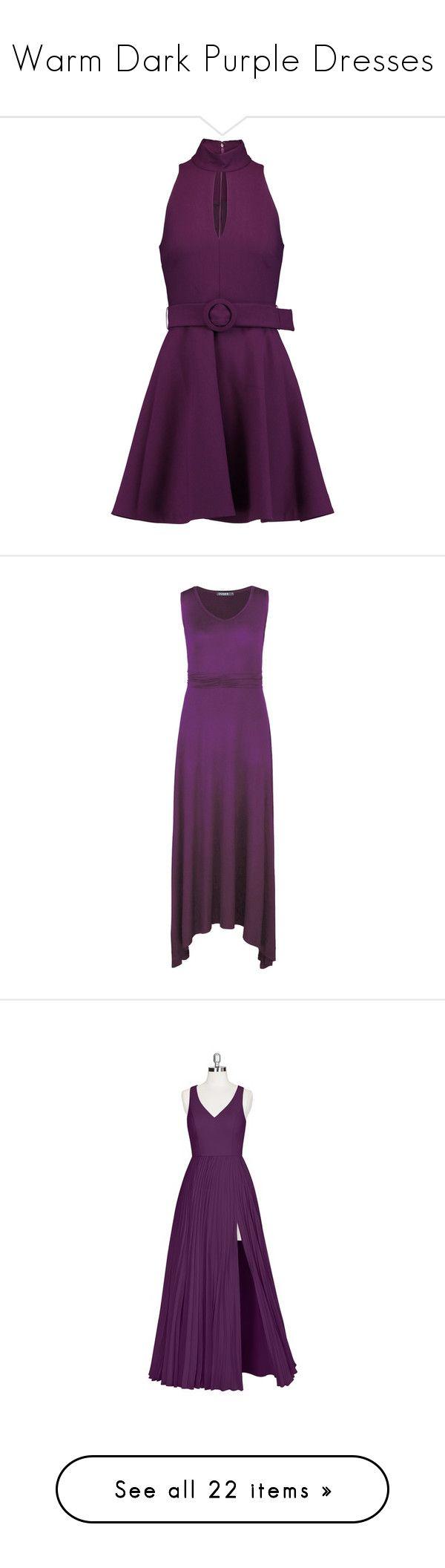 """Warm Dark Purple Dresses"" by tegan-b-riley on Polyvore featuring dresses, purple, cut-out dresses, stretch mini dress, cutout dresses, purple dresses, cut out mini dress, purple summer dresses, maxi length dresses and v neckline dress"