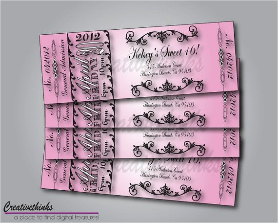 54 best Ticket Designs images on Pinterest Free stencils - printable ticket invitations