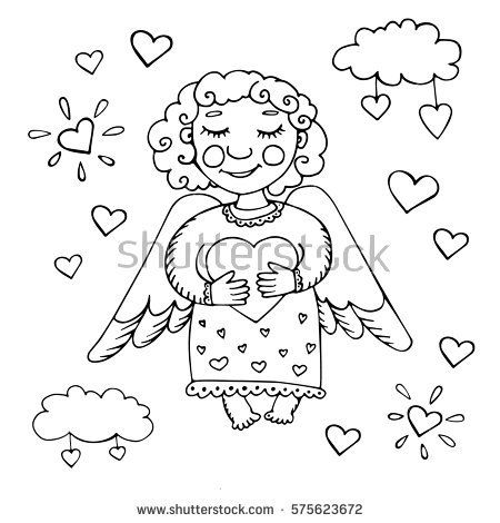 Angel in the clouds hugging heart. Card for Valentine's Day