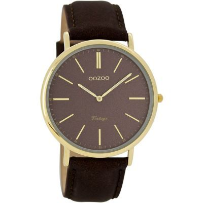 69 / 65 EURO PΟΛΟΙ UNISEX OOZOO TIMEPIECES VINTAGE GOLD BROWN LEATHER STRAP C7323 - e-chrono.gr | Ρολόγια - Κοσμήματα