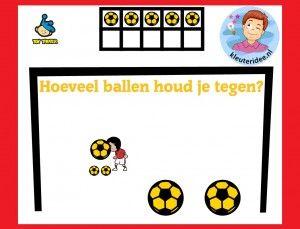Hoeveel ballen houd je tegen, met kleuters op digibord of computer op kleuteridee, Kindergarten math game for IBW or computer