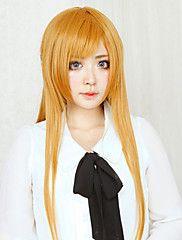 Cosplay Perücken Sword Art Online Asuna Yuuki Orange Lang Gerade Anime Cosplay Perücken 80 CM Hitzebeständige Faser Frau
