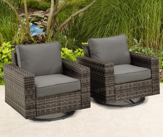 Shadow Creek 2 Piece All Weather Wicker Swivel Glider Chairs Set