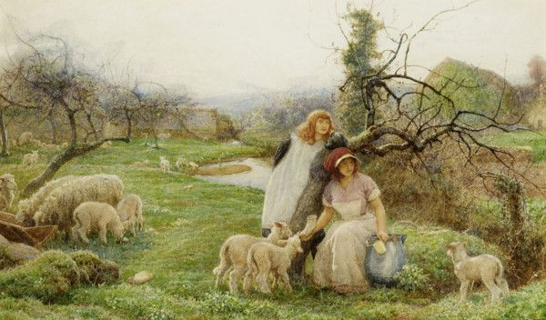 'Lambing Time' Signed watercolour, Robert WALKER MACBETH (1848-1910). A timeless view of the English countryside at Easter time. Offered by John Robertson Fine Paintings at The Edenbridge Galleries, Kent. www.edenbridgegalleries.com