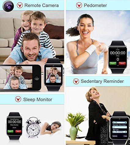 Smartwatch Android, DeYoun® Bluetooth Smartwatch Intelligente Orologio Da Polso Telefono con Slot per Scheda SIM / TF per Android Samsung Huawei Xiaomi Sony LG HTC Iphone IOS [ Parte delle funzioni ]- Argento: Amazon.it: Elettronica