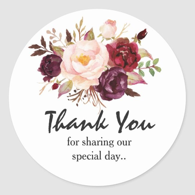 Burgundy Red Floral Rustic Boho Thank You Classic Round Sticker | Zazzle.com