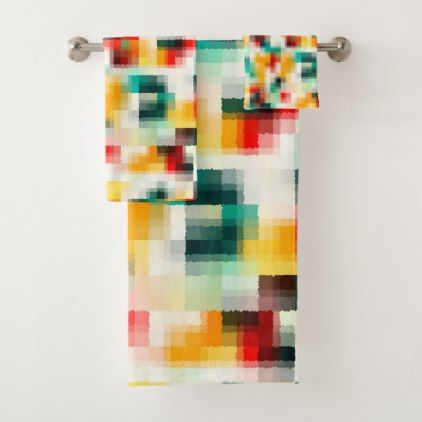 Red Blue Green Yellow White Abstract Pattern Bath Towel Set - diy cyo customize create your own #personalize