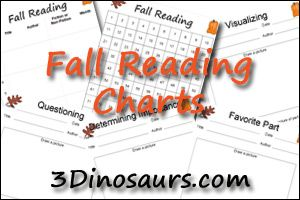 Fall Reading Charts - 100 sticker chart, 1 to 100 author – title – date, and 5 different Observations by 3Dinosaurs.com