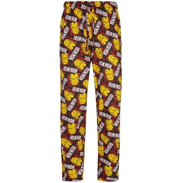 Red Iron Man Pyjama Bottoms ($7.42) ❤ liked on Polyvore featuring mens, men's clothing, men's sleepwear, pajamas and pijama