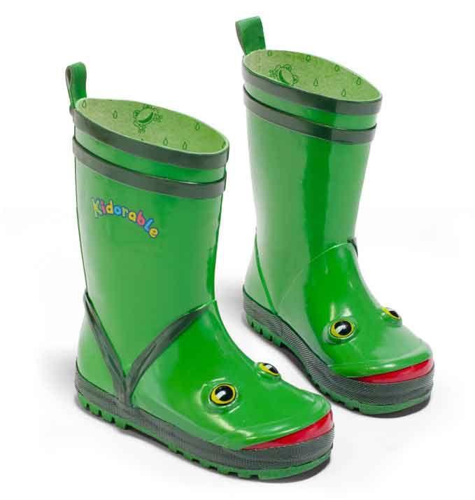 Green Frog Kids Childrens Kidorable Gumboots Wellies