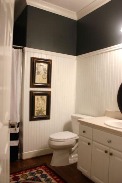 Photo Gallery In Website height of beadboard and dark paint love the contrast very crisp by Jill Hinson Bathroom DesignsBathroom