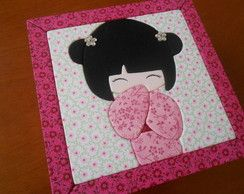 Caixa Patchwork Embutido Kokeshi