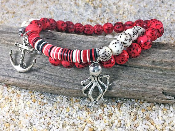 Nautical Bracelet Pirate Bracelet  Double Bracelet 2 Strand