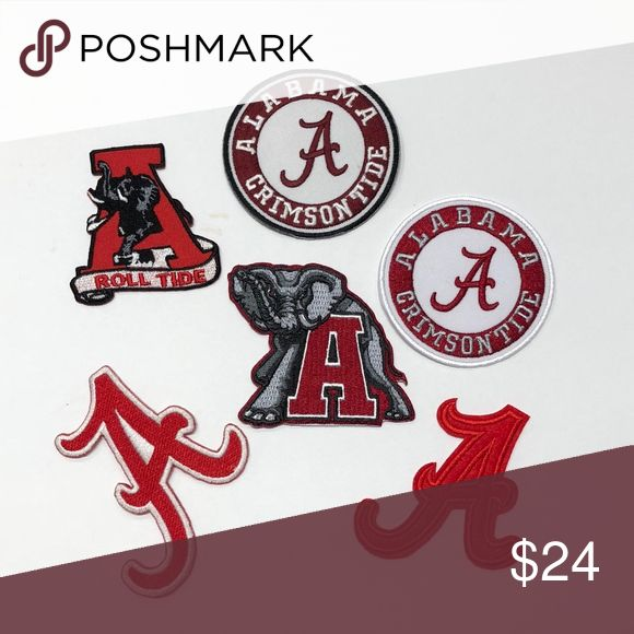 Alabama Patches, Iron On. College Patch, Roll Tide University of Alabama Iron On Patches, set of 6, SOLD SEPARATELY UPON REQUEST College Football Team Iron On Badge, Crimson Tide, West, Roll Tide, Embroidery, Applique, DIY,  *Alabama Crimson Tide Logo Patch*  Alabama Crimson Tide West Division  College Sports Team Patches Accessories